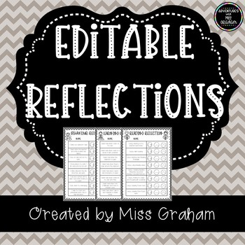 Editable Student Reflection - Behaviour, Reading, Writing, Maths.