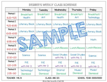 Editable Student Schedules
