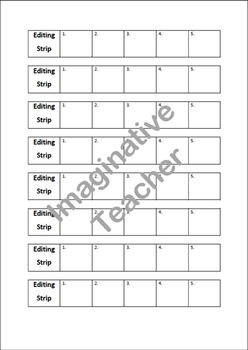 Editable Student Self Assessment Editing Strips