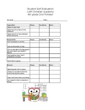 Editable Student Self Evaluation
