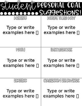 Editable Student Self-Reflection Rating Form