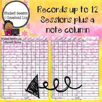 Editable Student Session & Caseload Log