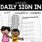 Editable Student Sign in Sheet