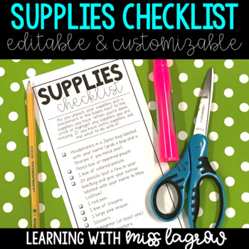 Editable Student Supplies Checklist for Back to School Night or Open House