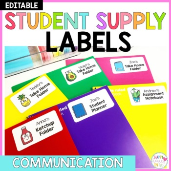 Editable Student Supply Labels- Communication