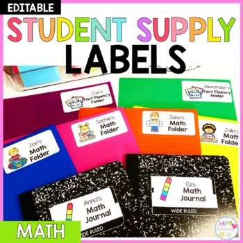 Editable Student Supply Labels- Math