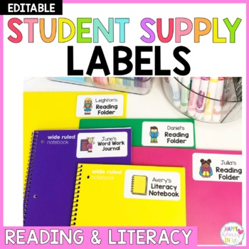 Editable Student Supply Labels- Reading and Literacy