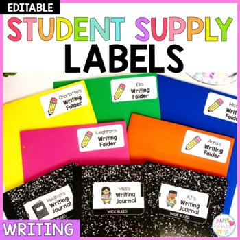 Editable Student Supply Labels- Writing