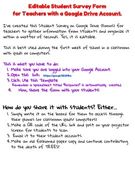 Editable Student Survey for Elementary Teachers with a Google Drive Account.