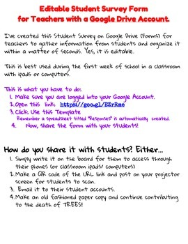 Editable Student Survey for Middle/ High School Teachers w Google Drive Account