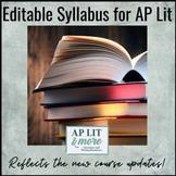 Editable Student Syllabus for AP English Lit