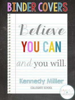 {Editable} 4 Erin Condren Binder Covers Student Homework Folder Teacher Planner