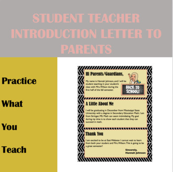 Editable Student Teacher Introduction Letter