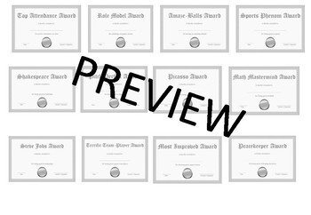 Editable Student, Teacher, Staff Awards Silver Edition Bundle