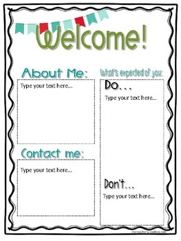 Editable Student-Teacher Intern Welcome Letter