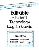Editable Student Technology Login Cards