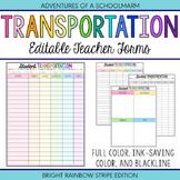 Editable Student Transportation Forms - Build a Teacher Binder