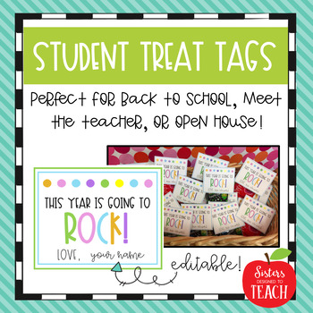 Editable Student Treat Tags (Back to School, Meet the Teacher, Open House)