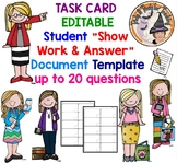 Task Card Template Editable Student Work Answers Stations Activity