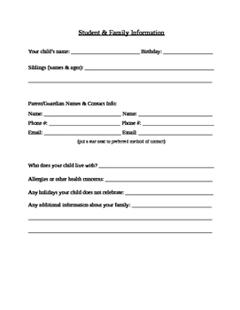 Editable Student and Family Information Forms (beginning of the year)