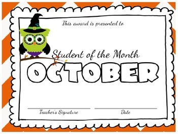 **Editable** Student of the Month Awards: Cute Owls