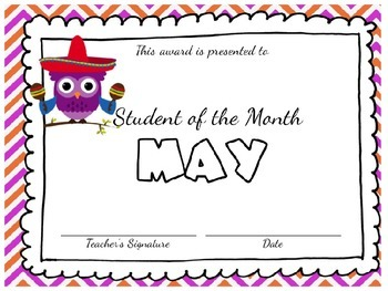 editable student of the month awards cute owls