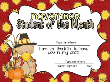 Editable Student of the Month Awards: For each Month