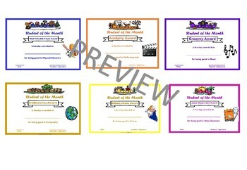 Editable Student of the Month Awards for Teens- Academics and Electives