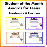 Editable Student of the Month Awards for Teens- Academics