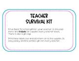 Teacher Survival Kit **FREEBIE