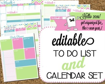 Stylish Editable To Do List & Calendar Set