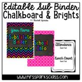 Editable Sub Binder: Chalkboard & Brights Version