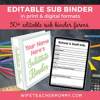 Editable Substitute Binder Forms | Sub Binder | Sub Tub |