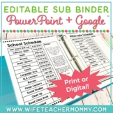 Editable Substitute Binder Forms for your sub tub teacher planner PRINT + GOOGLE