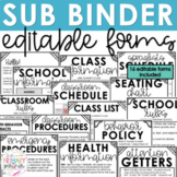 EDITABLE Sub Binder | Substitute Forms for Elementary Teachers