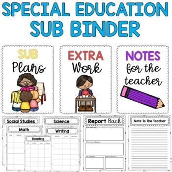 Editable Sub Binder for a Special Education Classroom