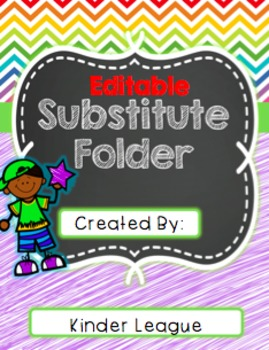 Sub Folder/ Binder with Lesson and Printables (Editable) by Kinder League