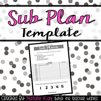Editable Sub Plan Template by Natalie Kay   Teachers Pay Teachers