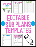 Editable Sub Plan Templates - Perfect for any grade!!