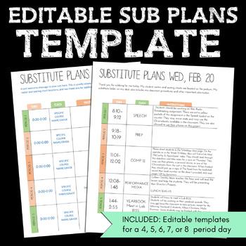 editable sub plans template by ms gs got class tpt