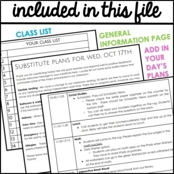 Editable Sub Plans Template for Google Docs