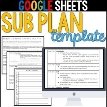 Editable Sub Plans Template For Google Docs By Lucky In Primary Tpt