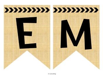 Editable Subject Banners - Burlap Theme