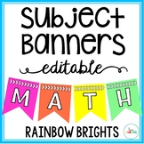 Editable Subject Banners - Rainbow Brights