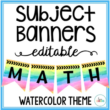 Editable Subject Banners - Watercolor Rainbow