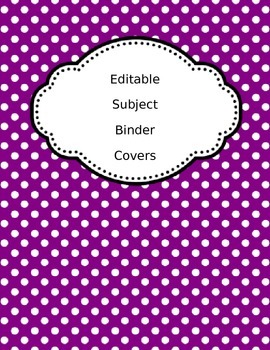 Editable Subject Binder Covers and Spine Labels