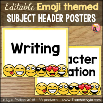 Emoji Theme Subject Headers - Editable Posters