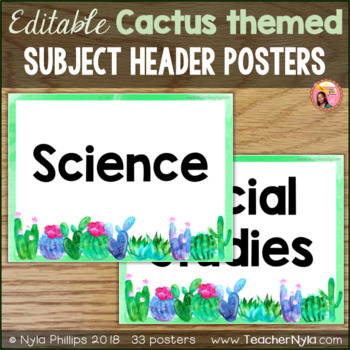 Editable Subject Header Signs - Cactus Theme