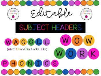 Editable Subject Headers