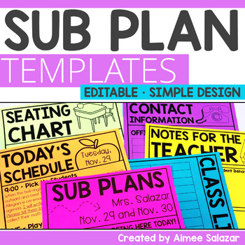 Editable Substitute Plan Templates